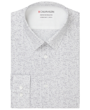 Calvin Klein Men's Extra-Slim Fit Performance Stretch Temperature Regulation Stripe Splatter-Print Dress Shirt