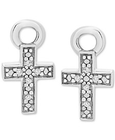 Diamond Accent Cross Earring Charms in Sterling Silver