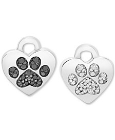 Black & White Diamond Paw Rotating Earring Charms (1/10 ct. t.w.) in Sterling Silver