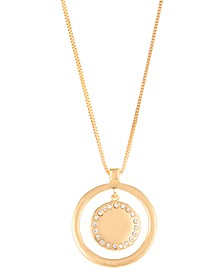 "Gold-Tone Pavé Orbital Pendant Necklace, 33"" + 3"" extender, Created for Macy's"
