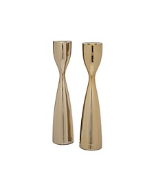 Candlesticks Faceted Set of 2