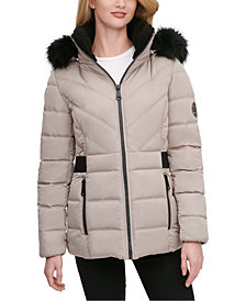 DKNY Faux-Fur Trim Hooded Puffer Coat