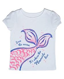Little Girls Mermaid Tail T-shirt