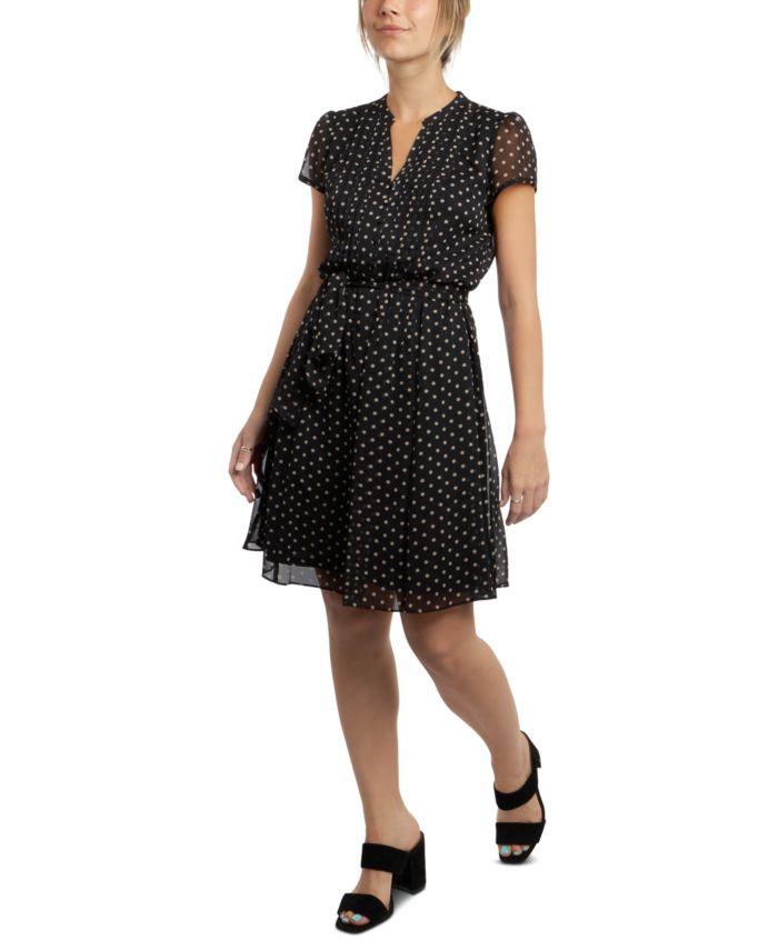 MSK Petite Printed Pleated Fit & Flare Dress & Reviews - Dresses - Petites - Macy's