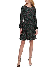 Petite Paisley-Print Fit & Flare Dress