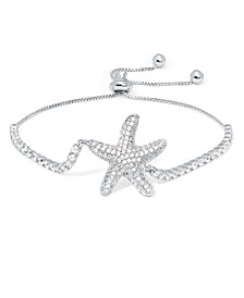 Fine Silver Plate Cubic Zirconia Starfish Adjustable Bolo Bracelet