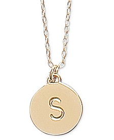 "Gold-Tone Initial Disc Pendant Necklace , 17"" + 3"" extender"