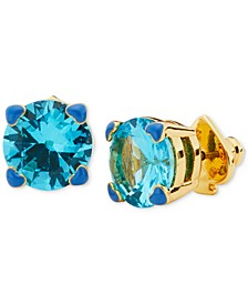 Gold-Tone 4-Heart Prong Blue Crystal Stud Earrings