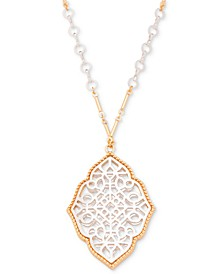 "Two-Tone Filigree 39"" Pendant Necklace, Created for Macy's"