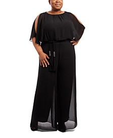 Plus Size Cold-Shoulder Wide-Leg Jumpsuit