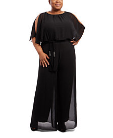 MSK Plus Size Cold-Shoulder Wide-Leg Jumpsuit