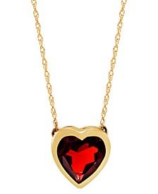 """Gemstone Bezel Heart 18"""" Pendant Necklace in 10k Gold"""