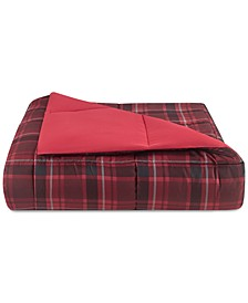 Essentials by Martha Stewart Collection Reversible Plaid Twin Comforter, Created for Macy's
