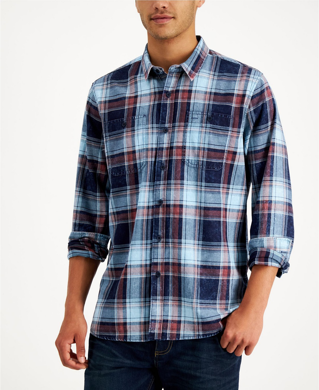 Sun + Stone Men's Abe Plaid Shirt, Created for Macy's