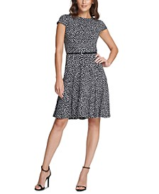 Petite Polka-Dot Belted Fit & Flare Dress