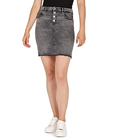 Button-Fly Denim Pencil Skirt