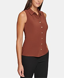 Collared Button-Front Sleeveless Top