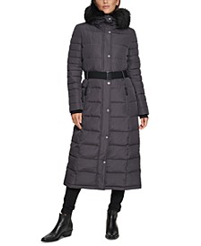 Belted Faux-Fur-Trim Hooded Maxi Puffer Coat