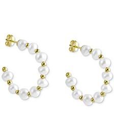 Cultured Freshwater Pearl C-Hoop Earrings in 14k Gold-Plated Sterling Silver