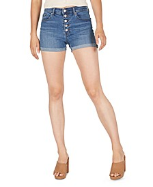 Cuffed High-Rise Denim Shorts