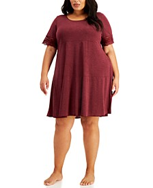 Plus Size Lace-Trim Sleepshirt Nightgown, Created for Macy's