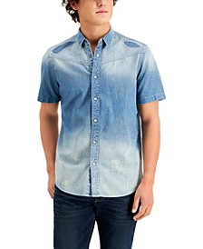 Men's Jude Patchwork Denim Short Sleeve Shirt, Created for Macy's
