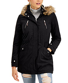 CoffeeShop Juniors' Faux-Fur-Trim Hooded Anorak Jacket, Created for Macy's