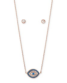 2-Pc. Set Cubic Zirconia Evil Eye Pendant Necklace & Round Stud Earrings in Rose Gold-Flash, Created for Macy's