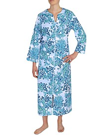 Floral-Print Long Zipper Robe