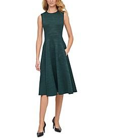 Glitter-Scuba A-Line Midi Dress