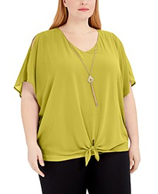 Plus Size Tie-Front Necklace Top, Created for Macy's