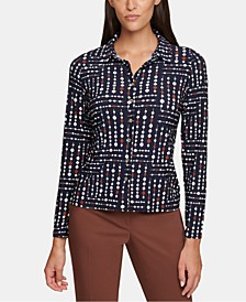 Geo-Dot-Print Button-Front Top