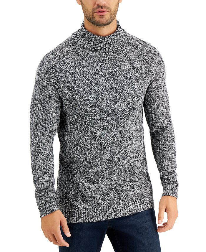 Tasso Elba - Men's Chunky Marbled Turtleneck Sweater, Created for Macy's