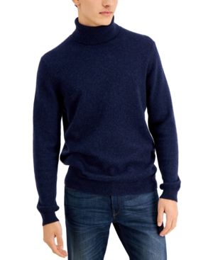 Men's Vintage Sweaters, Retro Jumpers 1920s to 1980s Tasso Elba Mens Cashmere Turtleneck Sweater Created for Macys $61.25 AT vintagedancer.com