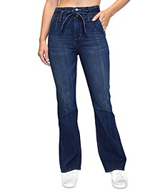 Juniors' High Rise Tie-Waist Flare Jeans