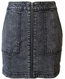 Juniors' Zip-Front Denim Mini Skirt