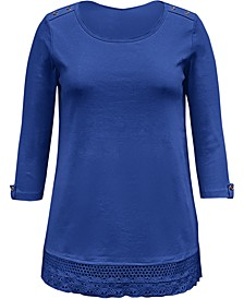 Cotton Lace-Hem Top, Created for Macy's