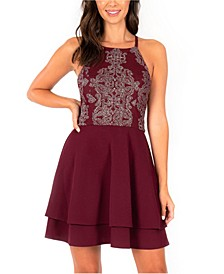 Juniors' Embellished Double-Layer Halter Dress