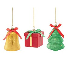 Bell, Tree & Gift 3-Piece Ornament Set