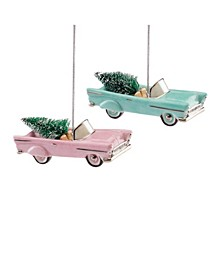Retro Car 2-Piece Ornament Set