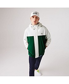 Men's Regular Fit Asymmetrical Colorblocked Waterproof Jacket with Hood
