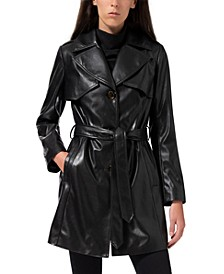 Faux-Leather Belted Trench Coat