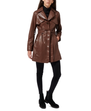 70s Jackets, Furs, Vests, Ponchos Sam Edelman Faux-Leather Belted Trench Coat $280.00 AT vintagedancer.com