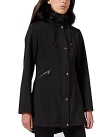 Sam Edelman Faux-Fur-Trim Hooded Raincoat