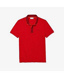 Men's Slim Fit Short Sleeve Petit Pique Polo Shirt with Intarsia Knit Collar