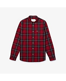 Men's Slim Fit Long Sleeve Button-Down Stretch Plaid Shirt