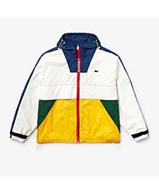 Men's LIVE Colorblocked Parka Jacket with Oversized Lacoste Logo Lettering on Back