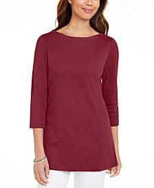 Plus Size Cotton Boatneck Tunic, Created for Macy's
