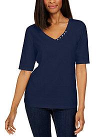 Karen Scott Plus Size 3/4-Sleeve Top, Created for Macy's