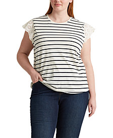 Lauren Ralph Lauren Plus Size Ruffle Sleeve Top